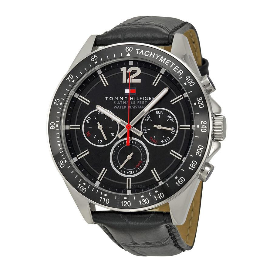 0cbe4de099 Tommy Hilfiger Black Dial Black Leather Men's Watch 1791117 - Tommy ...