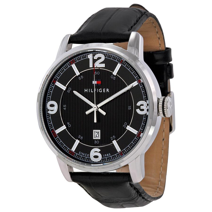 f48e81af10 Tommy Hilfiger Black Dial Black Leather Strap Men's Watch 1710342 ...