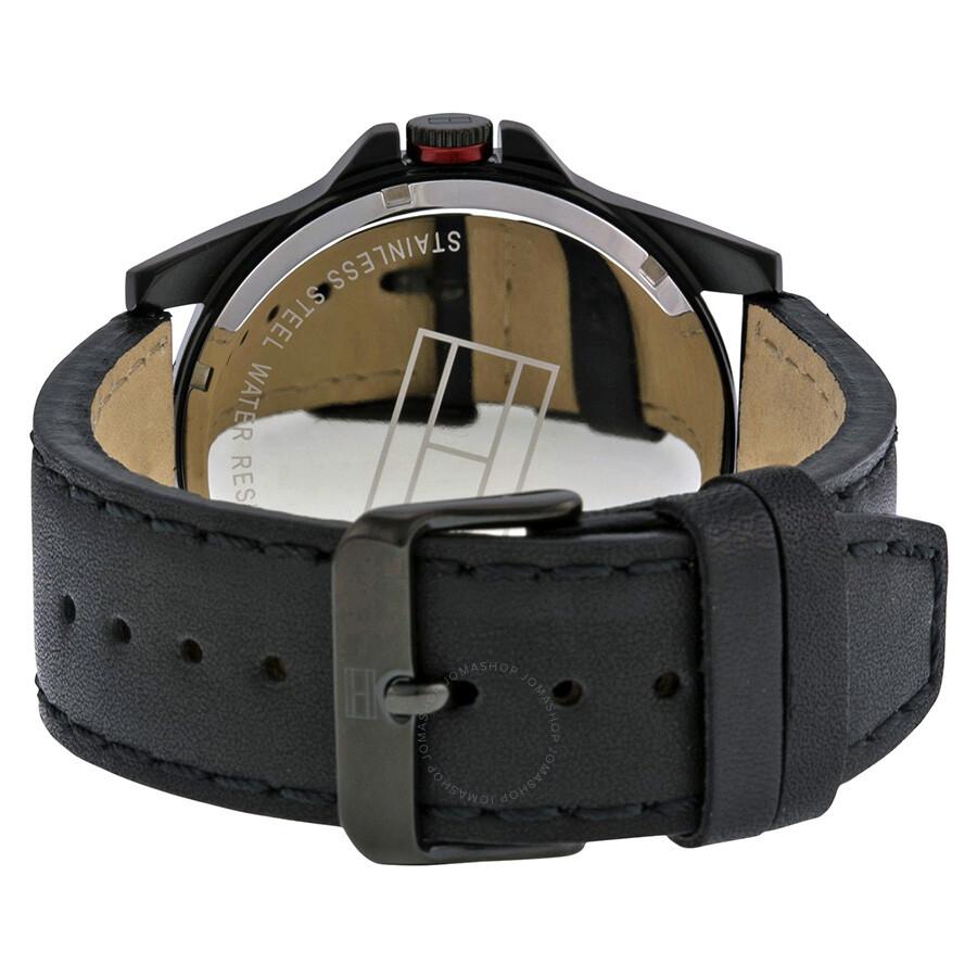 Tommy hilfiger black dial black leather strap men 39 s watch 1791005 tommy hilfiger watches for Black leather strap men