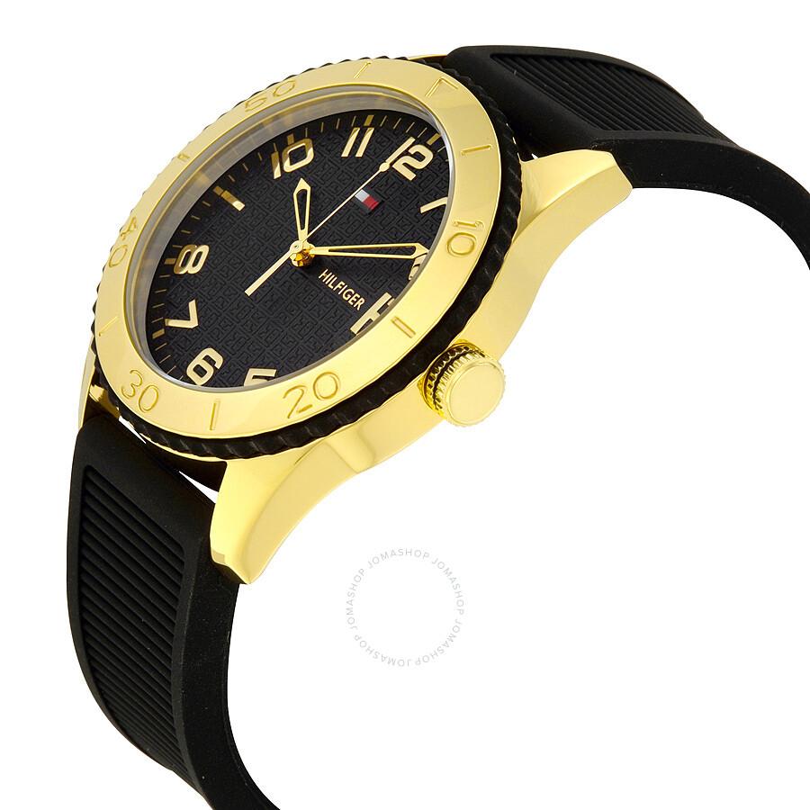 Tommy hilfiger black dial black rubber strap ladies watch 1781120 tommy hilfiger watches for Rubber watches