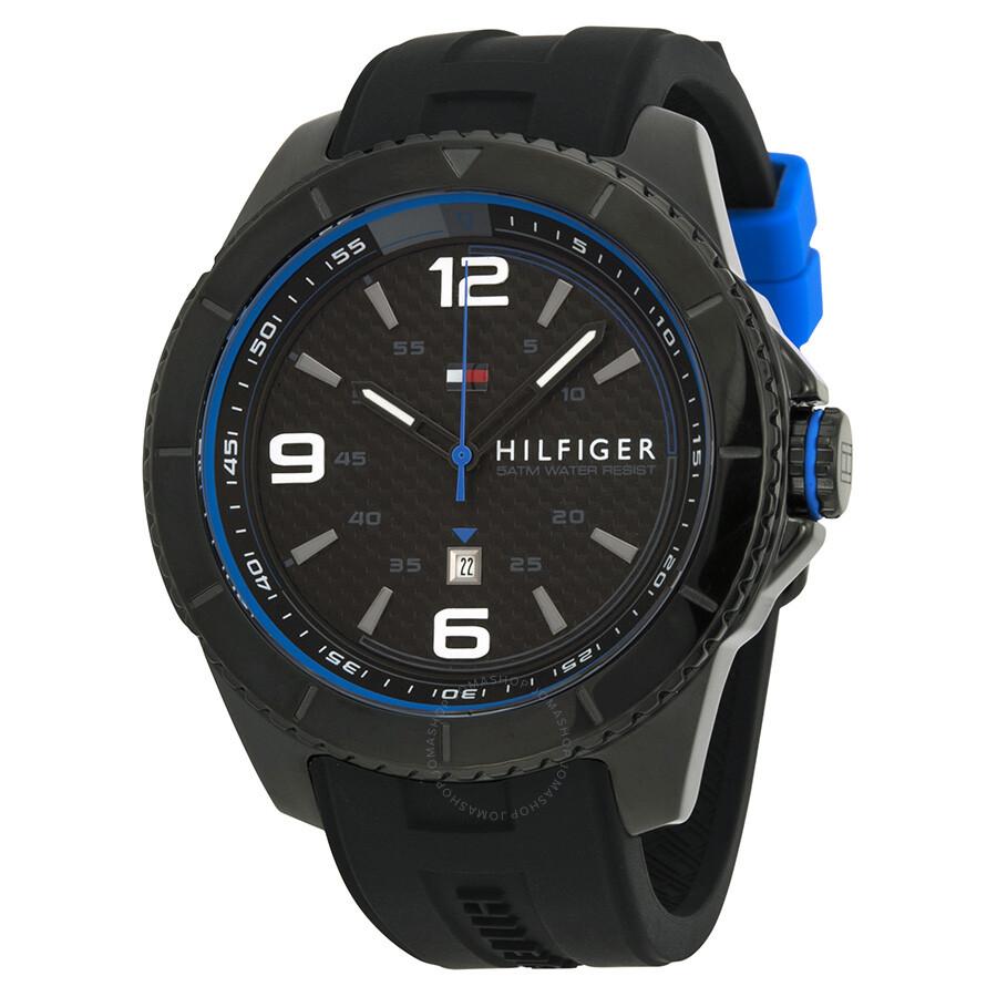 Tommy Hilfiger Black Dial Black Silicone Strap Men's Watch ...