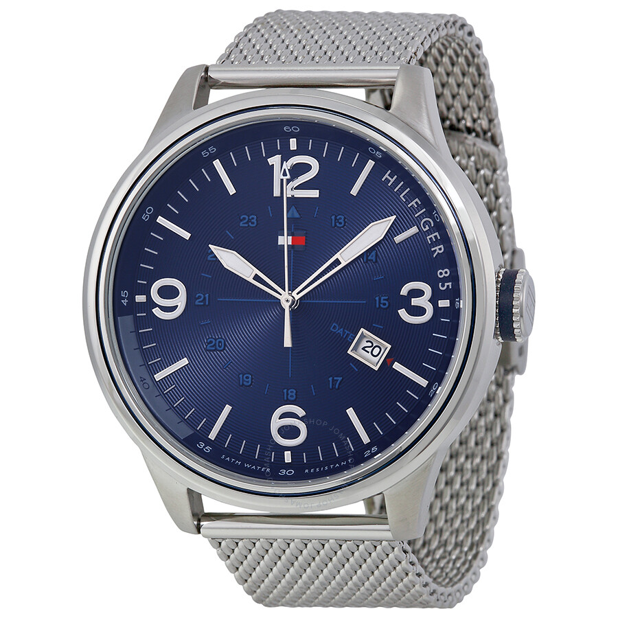 a60fc47c Tommy Hilfiger Blue Dial Stainless Steel Mesh Men's Watch 1791106 ...