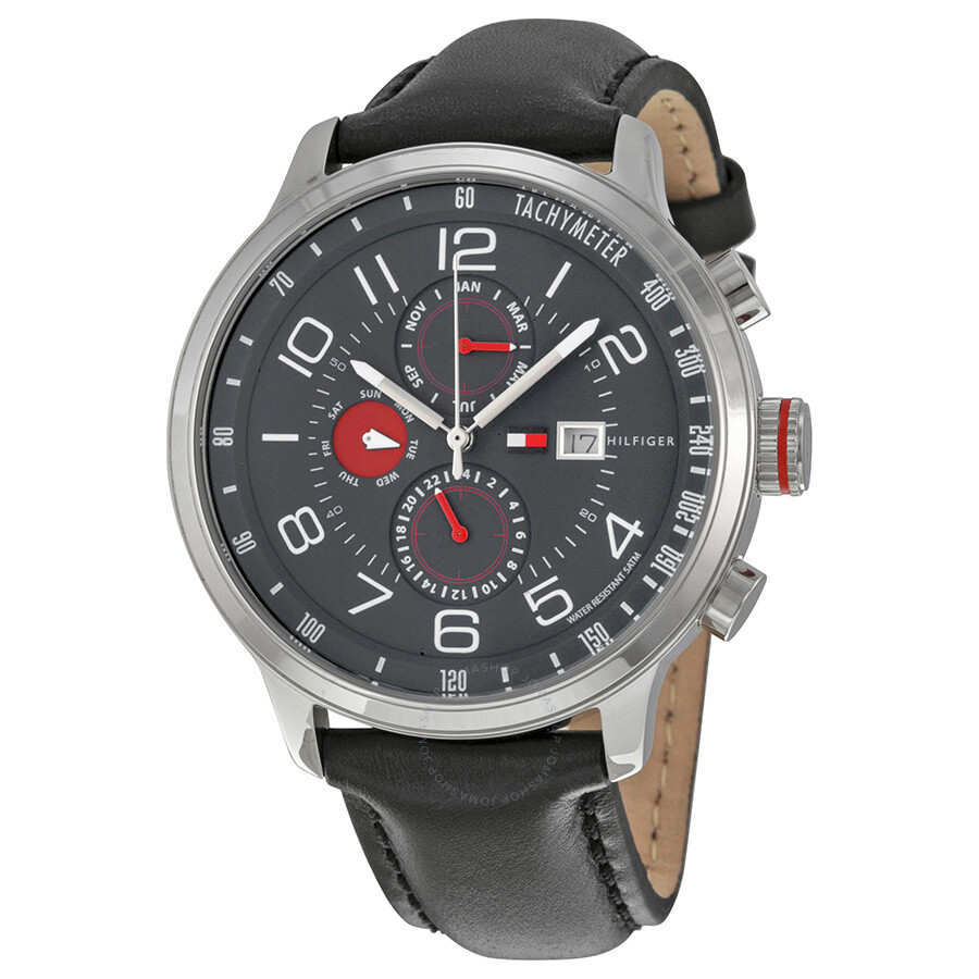 13fbaf6a00 Tommy Hilfiger Classic GMT Grey Dial Stainless Steel Men's Watch 1790859 ...