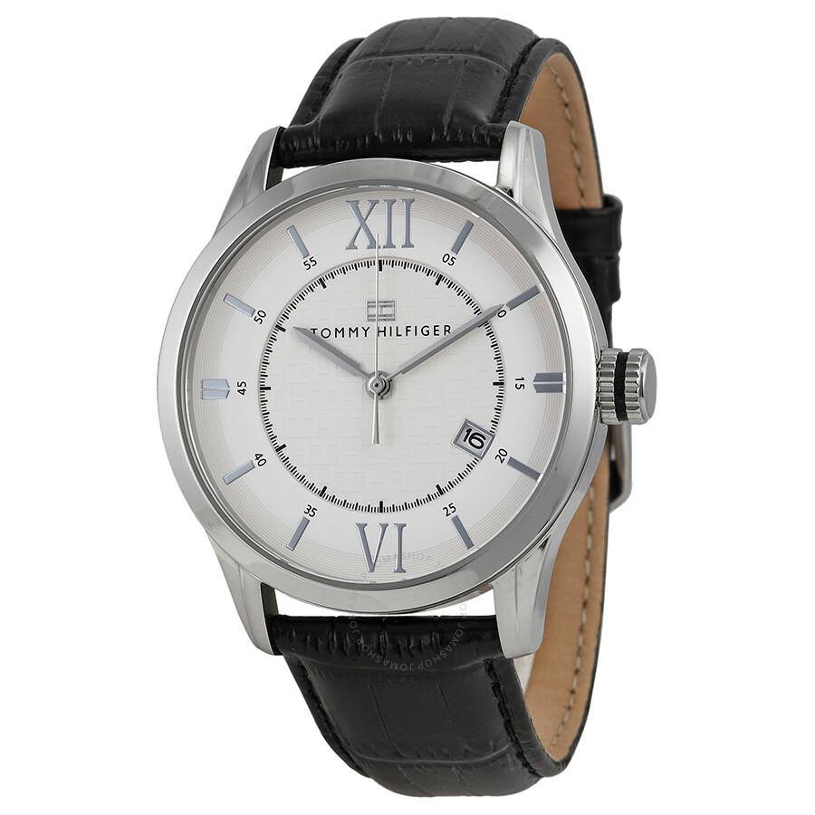 f4e5f20d614 Tommy Hilfiger Classic White Enamel Dial Black Leather Men s Watch 1710207  ...