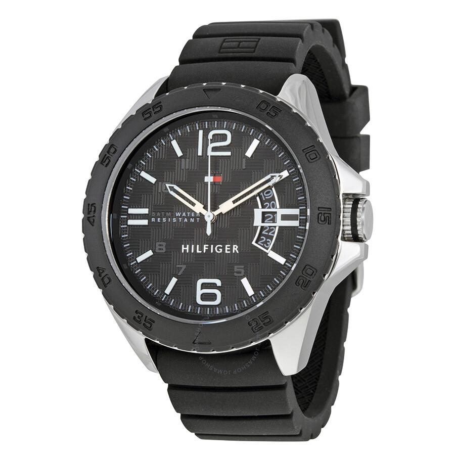0fbab3391 Tommy Hilfiger Cody Black Dial Black Silicone Men's Sports Watch 1791203 ...