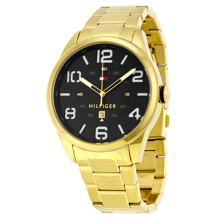 35070559 Tommy Hilfiger Coner Black Dial Yellow Gold-tone Watch 1791209 ...