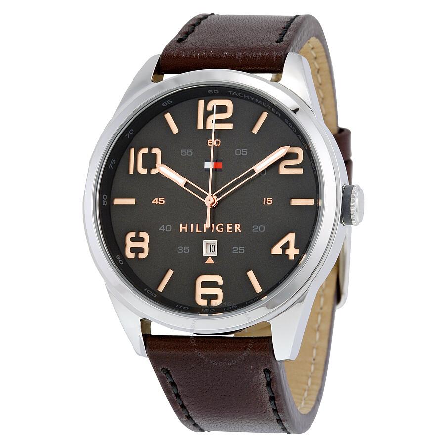 Tommy Hilfiger Conner Quartz Black Dial Dark Brown Leather Strap Men s  Watch 1791157 ... 59ec3087d4b62