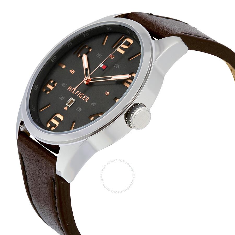 ... Tommy Hilfiger Conner Quartz Black Dial Dark Brown Leather Strap Men s  Watch 1791157 ... fd6c8e230399d