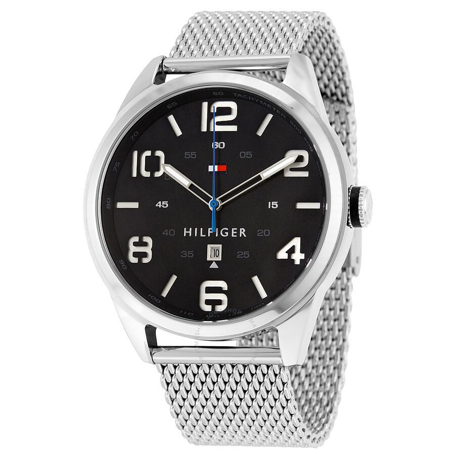 4fce0b7e Tommy Hilfiger Conner Quartz Black Dial Stainless Steel Mesh Men's Watch  1791161 ...