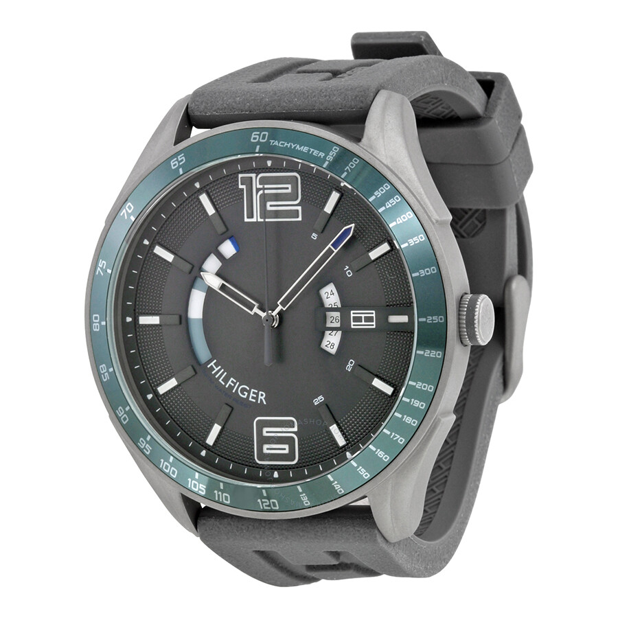 733c3d90d Tommy Hilfiger Cooper Grey Dial Black Silicone Men's Sports Watch 1790799  ...
