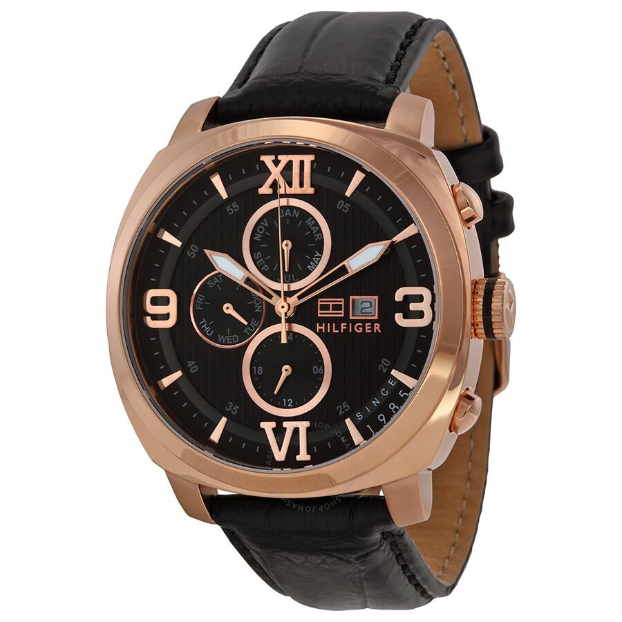 c1813b15df7 Tommy Hilfiger Fitz Multi-Function Black Dial Black Leather Strap Men s  Watch 1790969 ...