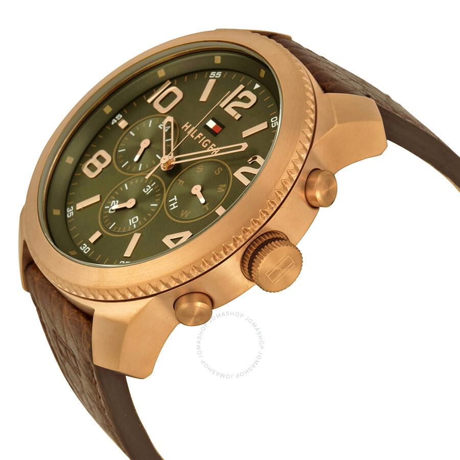 kiva halpa myyntipiste myynnissä jaloilla Tommy Hilfiger Graham Multi-function Green Dial Leather Men's Watch 1791109