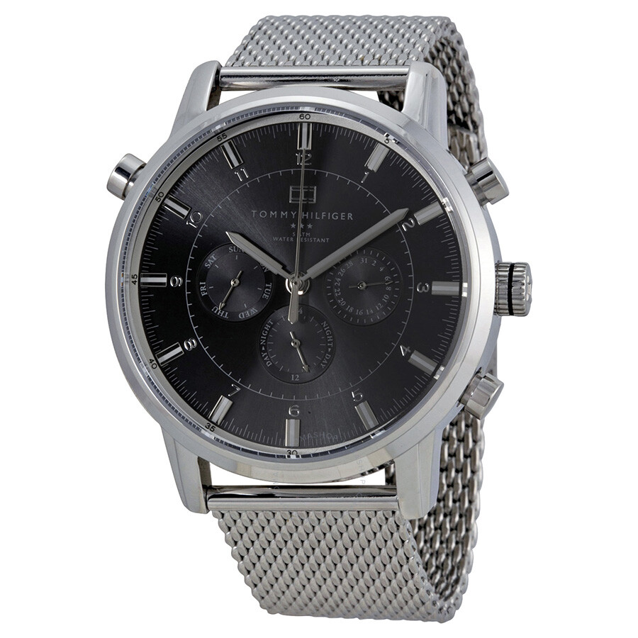 dfd6f68d98f4c Tommy Hilfiger Gray Dial Stainless Steel Mesh Men s Watch 1790877 ...