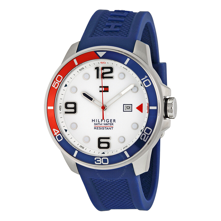 73980c08c Tommy Hilfiger Keith White Dial Blue Silicone Strap Pepsi Bezel Men's Watch  1791155 ...