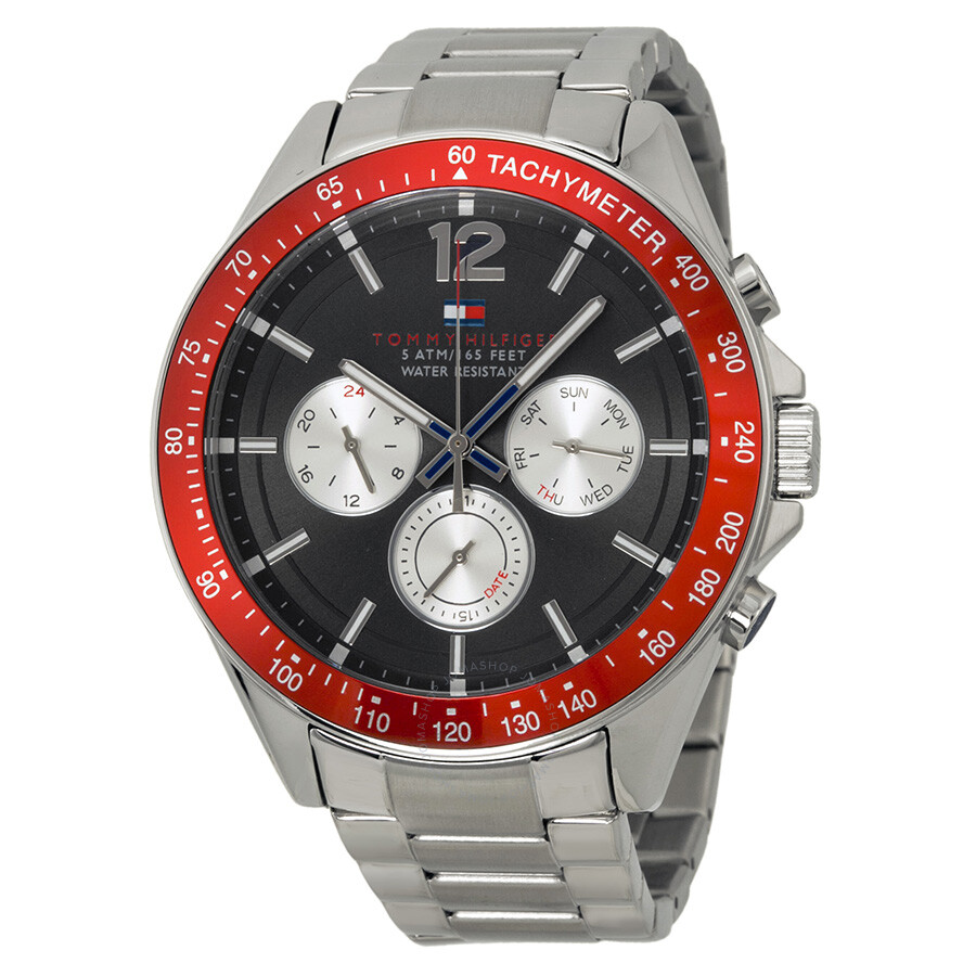 af3c70ea Tommy Hilfiger Luke Multi-Function Black Dial Stainless Steel Men's Watch  1791122 ...