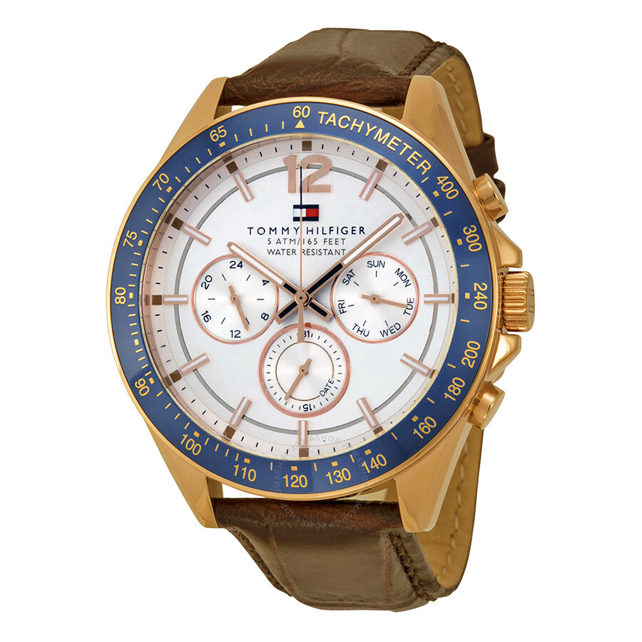 078e43cc Tommy Hilfiger Luke Multi-Function White Dial Brown Leather Men's Watch  1791118 ...