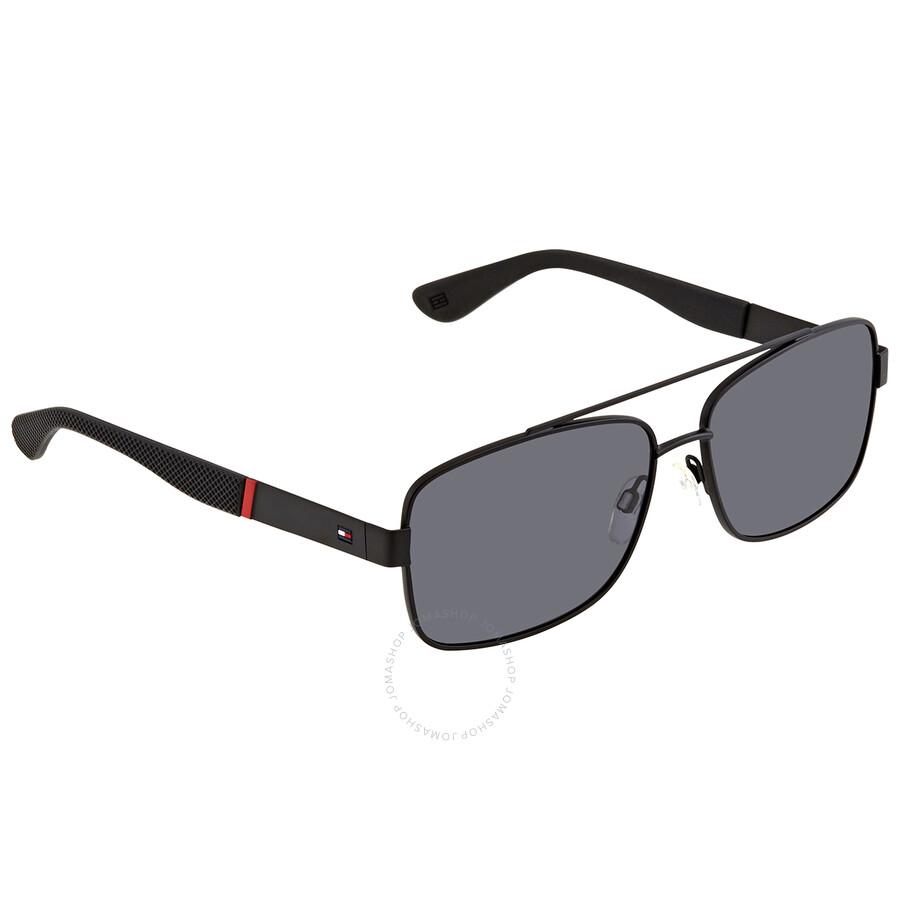 TH1405S 0FMV XT Tommy Hilfiger Men/'s Black Square Sunglasses w// Flash Lens