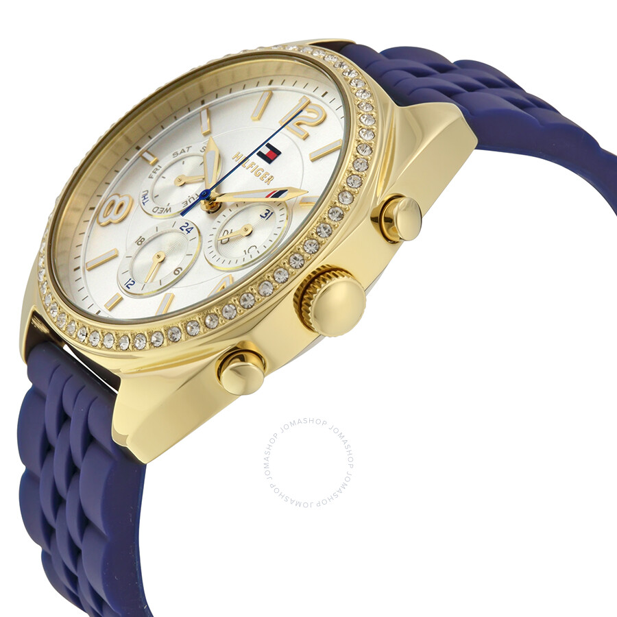243b478f ... Tommy Hilfiger Mia Multi-Function Silver Dial Blue Silicone Ladies Watch  1781570 ...