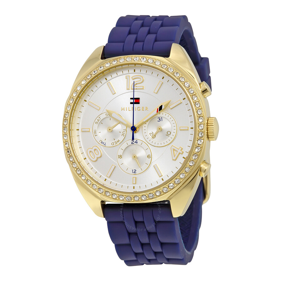 bd2d7829 Tommy Hilfiger Mia Multi-Function Silver Dial Blue Silicone Ladies Watch  1781570 ...