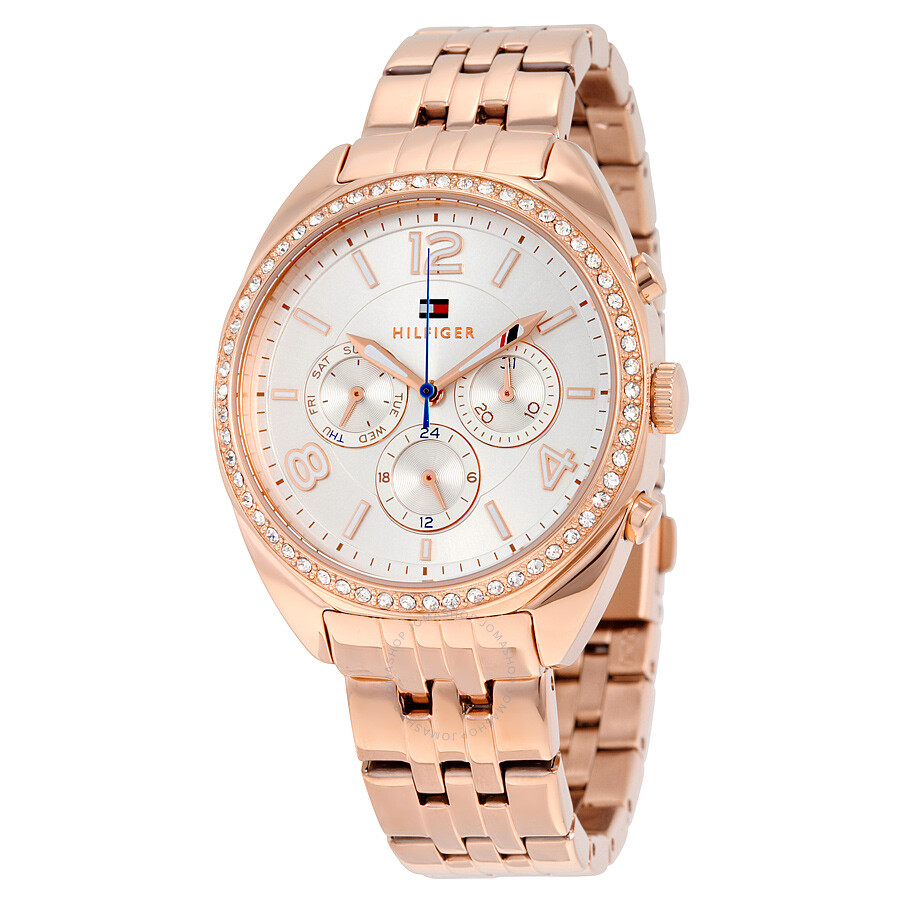 7c21189f Tommy Hilfiger Mia Multifunction Silver Dial Rose Gold-tone Stainless Steel  Ladies Watch 1781572 ...