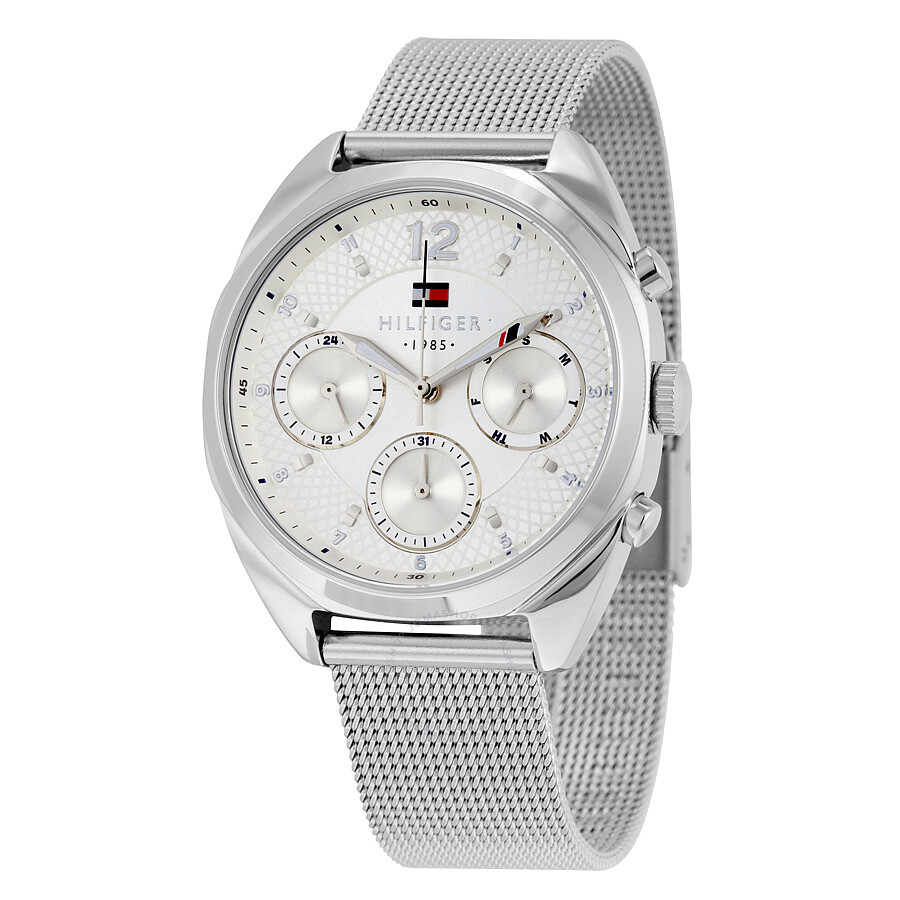 9a486595 Tommy Hilfiger Mia Multi-Function Silver Dial Stainless Steel Mesh Men's  Watch 1781628 ...