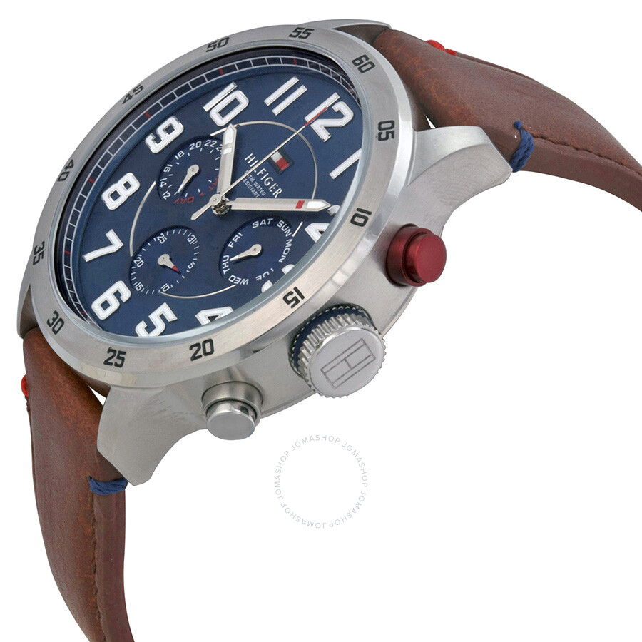 14ea4118 ... Tommy Hilfiger Multi-Function Blue Dial Brown Leather Men's Watch  1791066 ...