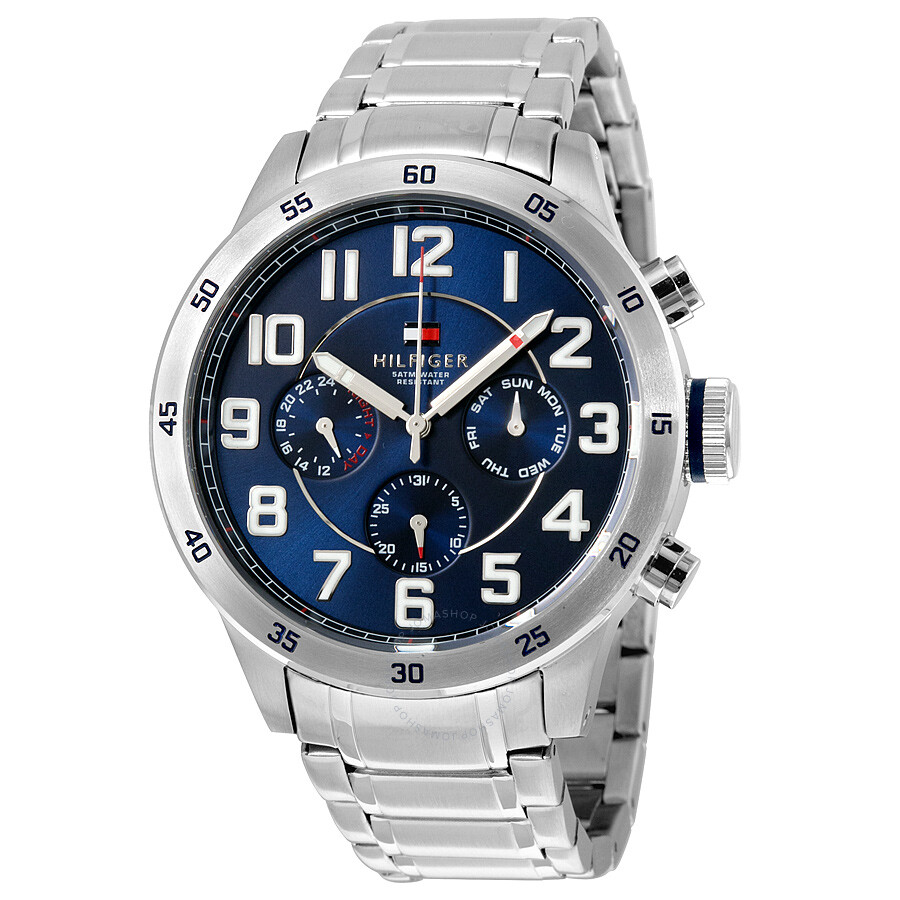 4630553c Tommy Hilfiger Multi-Function Blue Dial Stainless Steel Men's Watch 1791053  ...