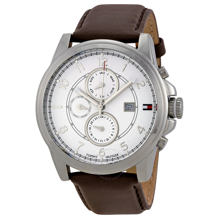 tommy hilfiger watches jomashop tommy hilfiger multi function white dial brown leather men s watch
