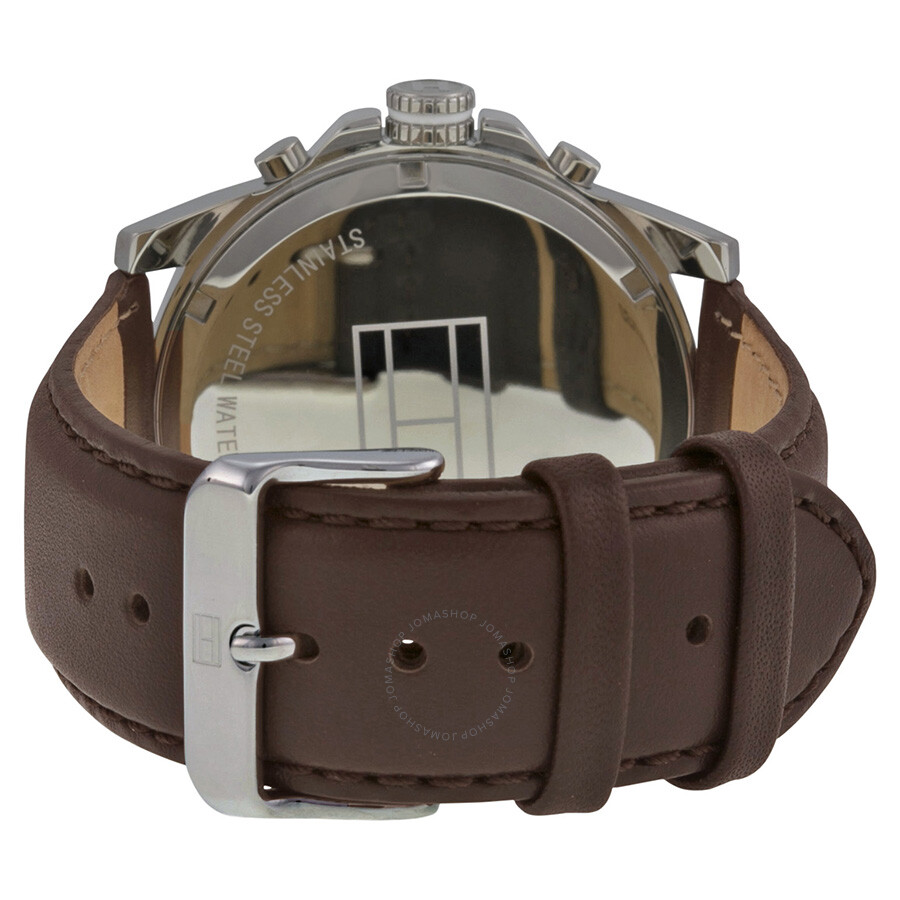136c9d59a ... Tommy Hilfiger Multi-Function White Dial Brown Leather Men's Watch  1710294 ...