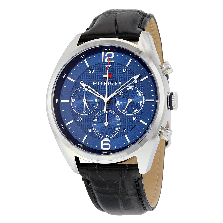 4947cc4e Tommy Hilfiger Multifunction Blue Dial Black Leather Men's Watch 1791182 ...