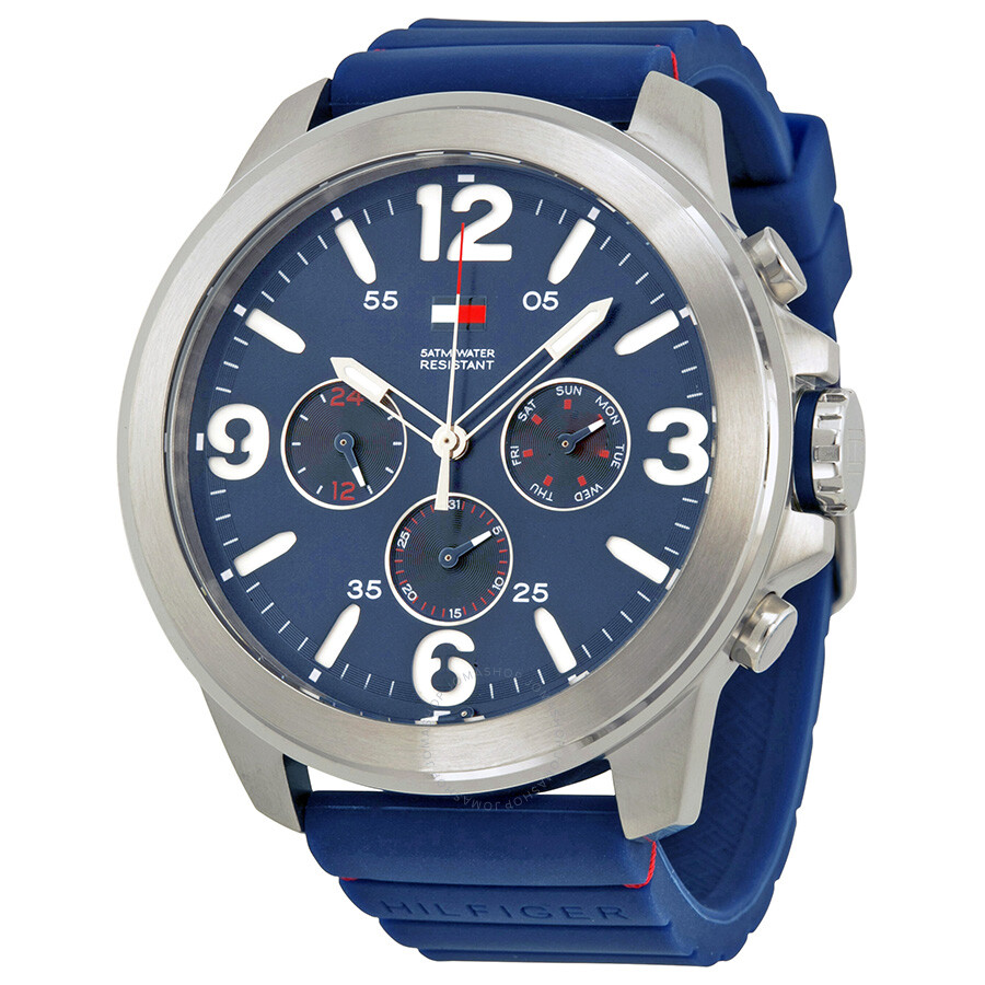 58202b1a Tommy Hilfiger Multi-Function Blue Dial Blue Rubber Men's Watch 1791096 ...