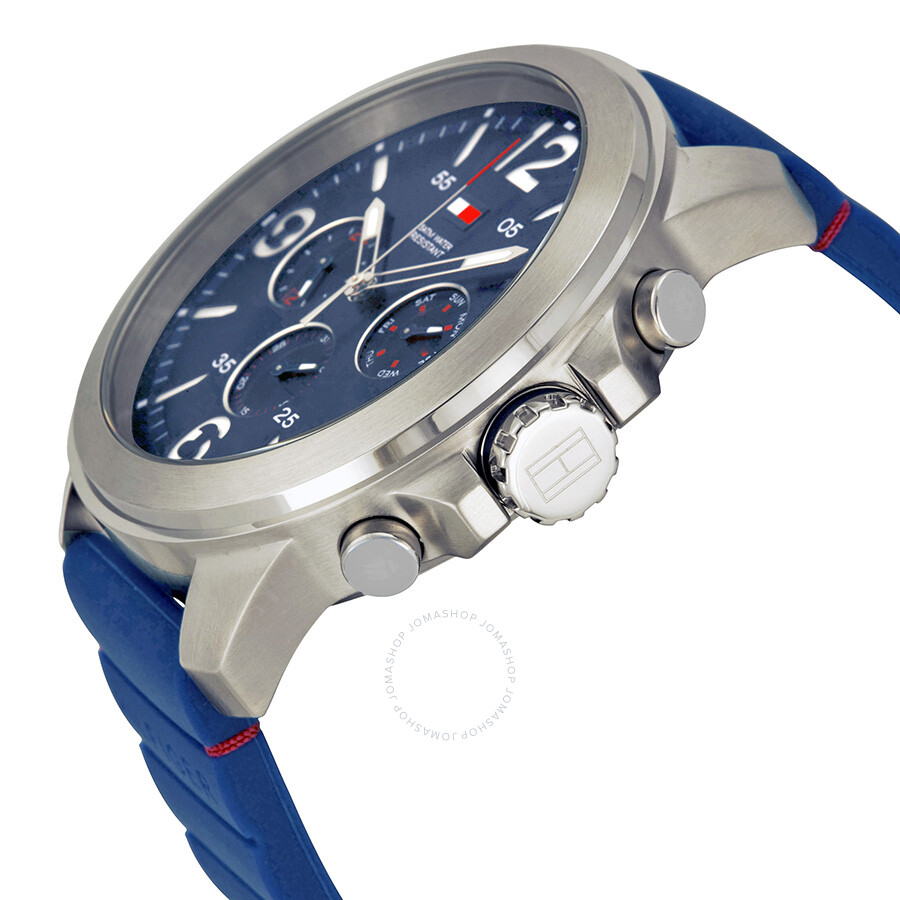 7794cd38 ... Tommy Hilfiger Multi-Function Blue Dial Blue Rubber Men's Watch 1791096  ...