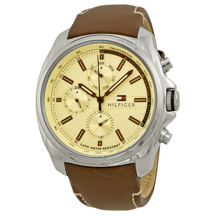 tommy hilfiger watches jomashop tommy hilfiger multi function light champagne dial brown leather men s watch
