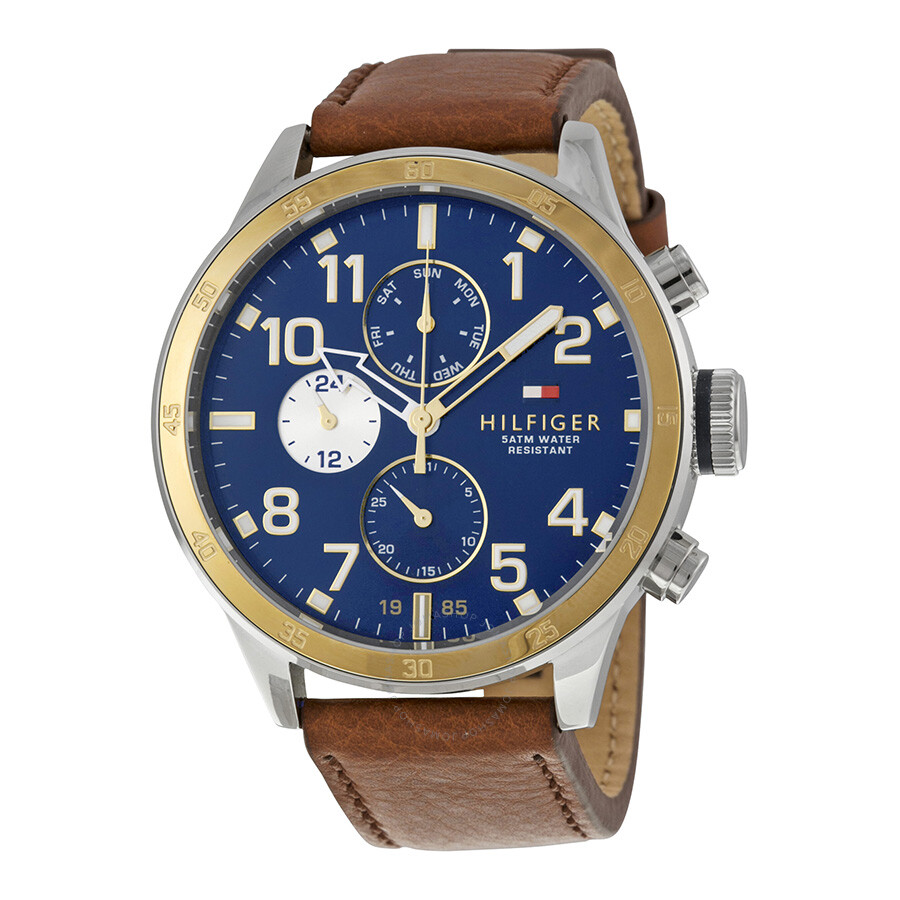 7b626ad31b Tommy Hilfiger Multi-Function Navy Blue Dial Brown Leather Men's Watch  1791137 ...