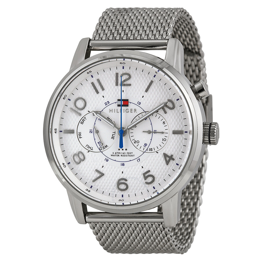 eff4a164 Tommy Hilfiger Multi-Function White Dial Stainless Steel Mesh Men's Watch  1791087 ...