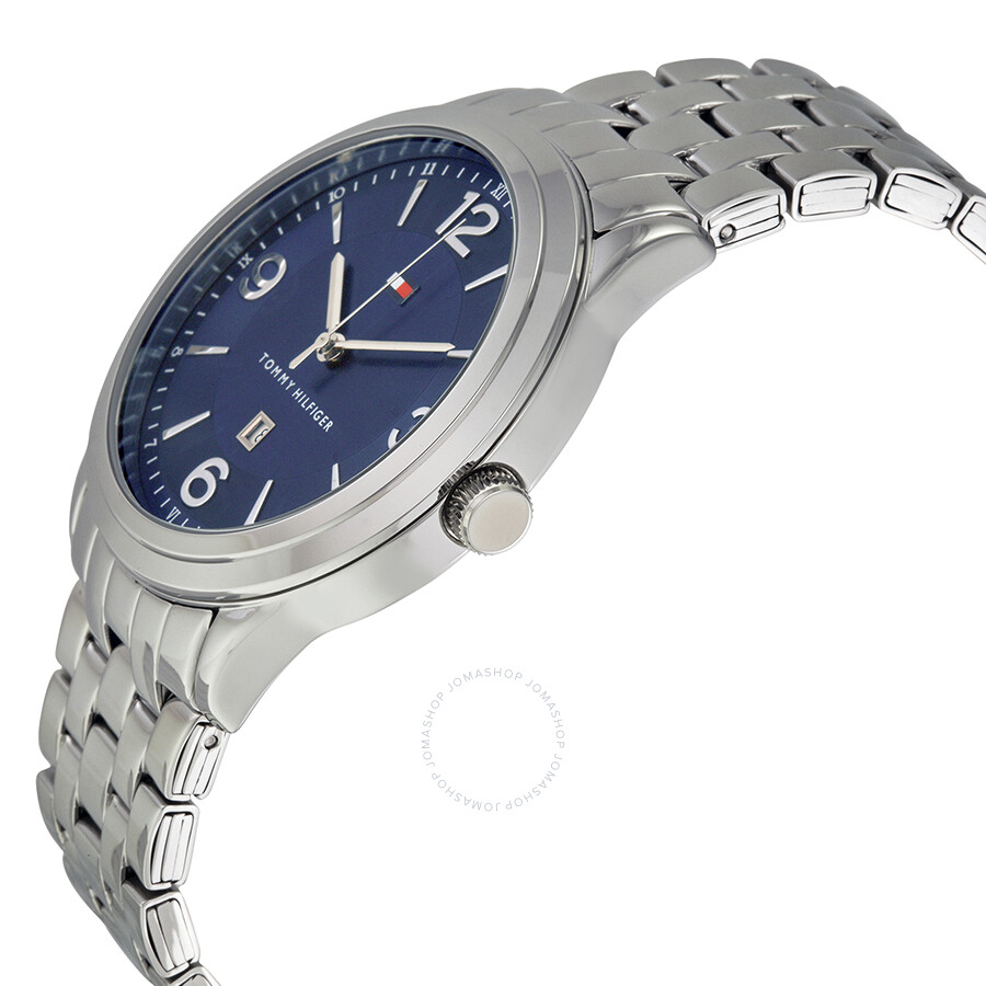 cb5ae2ba ... Tommy Hilfiger Navy Blue Sunray Dial Stainless Steel Men's Watch  1791116 ...
