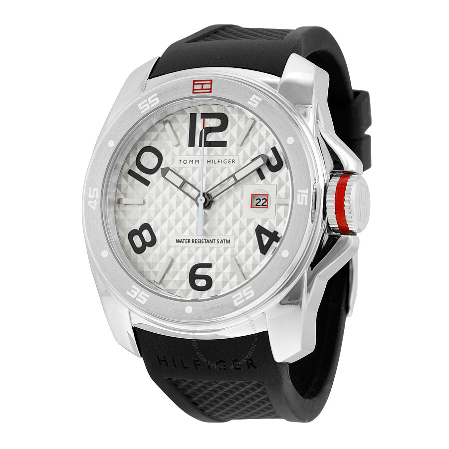 tommy hilfiger silver dial men 39 s sports watch 1790711. Black Bedroom Furniture Sets. Home Design Ideas