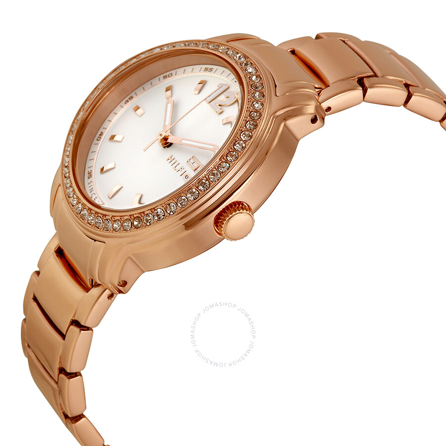 tommy hilfiger silver dial rose gold tone ladies watch. Black Bedroom Furniture Sets. Home Design Ideas
