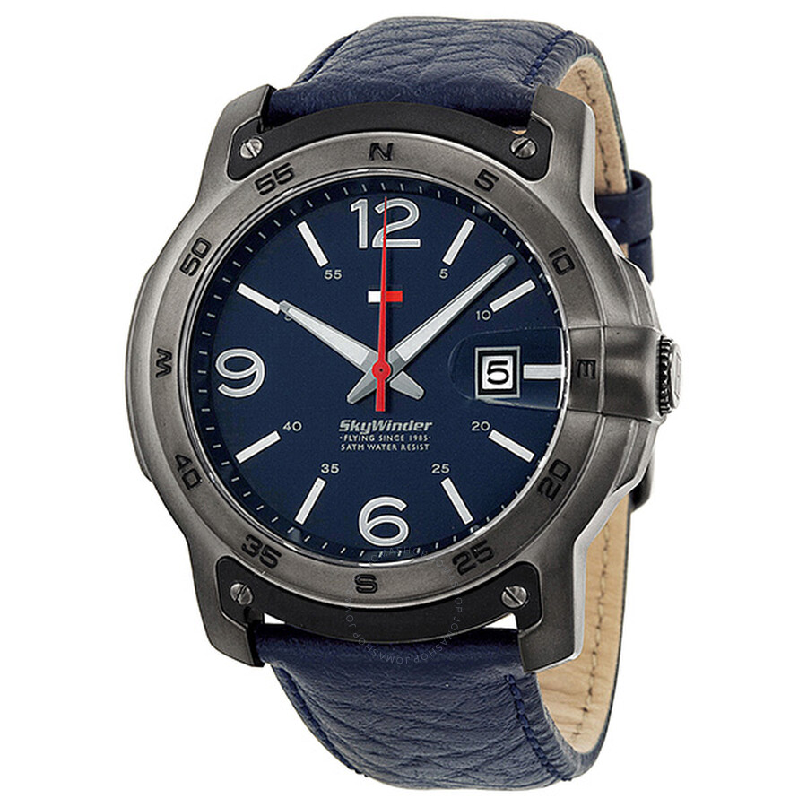 tommy hilfiger skywinder blue dial blue leather men s watch tommy hilfiger skywinder blue dial blue leather men s watch 1790895