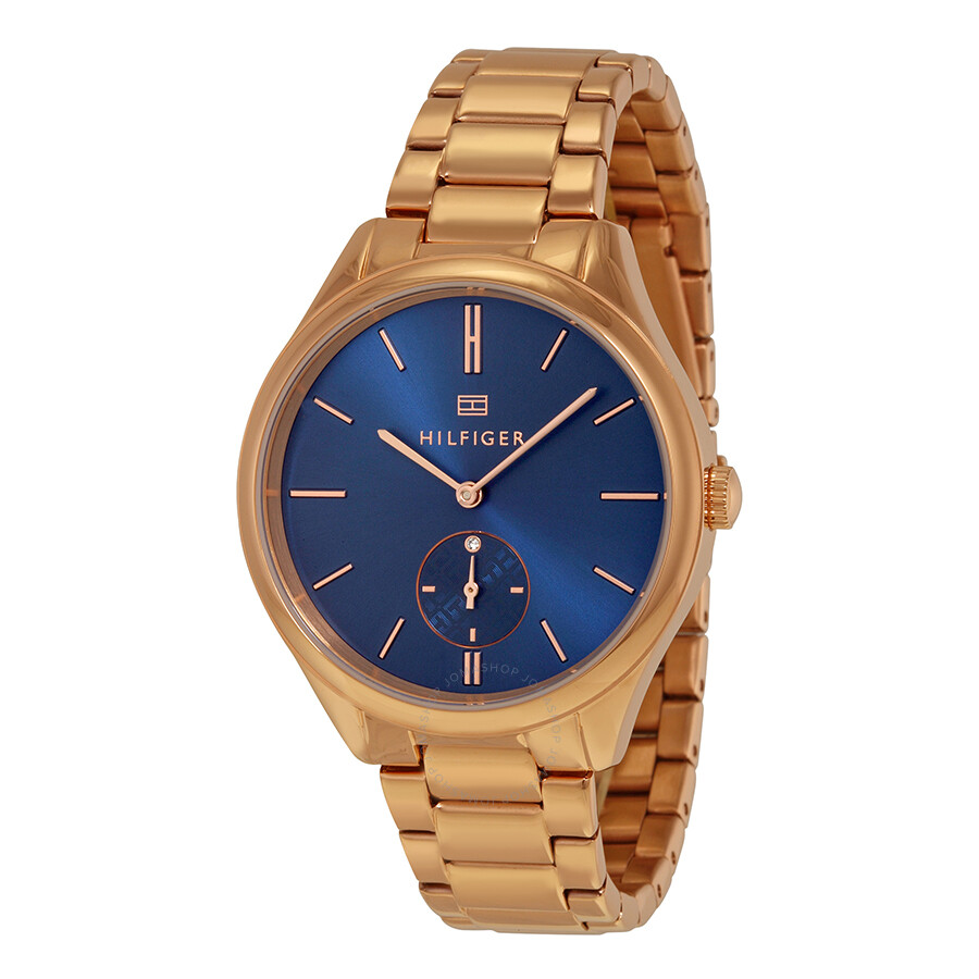 Tommy hilfiger sofia blue dial rose gold tone stainless steel ladies watch 1781579 tommy for Stainless steel watch