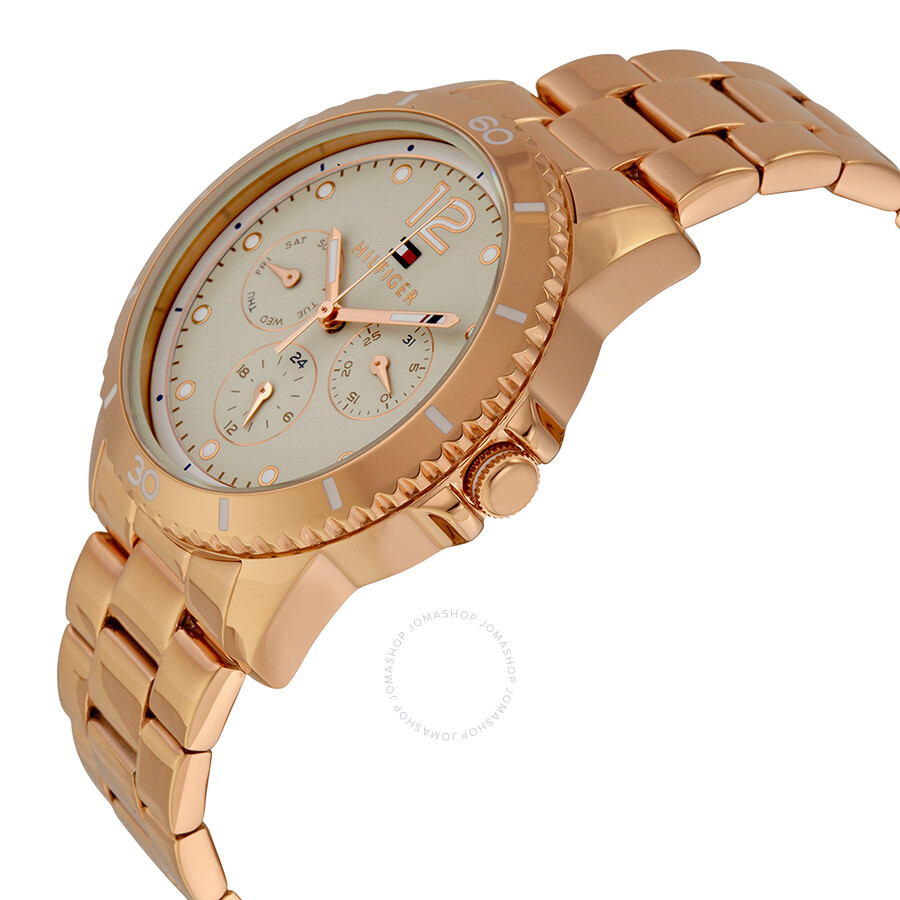 tommy hilfiger tessa multi function champagne dial rose gold tone stainless steel ladies watch. Black Bedroom Furniture Sets. Home Design Ideas