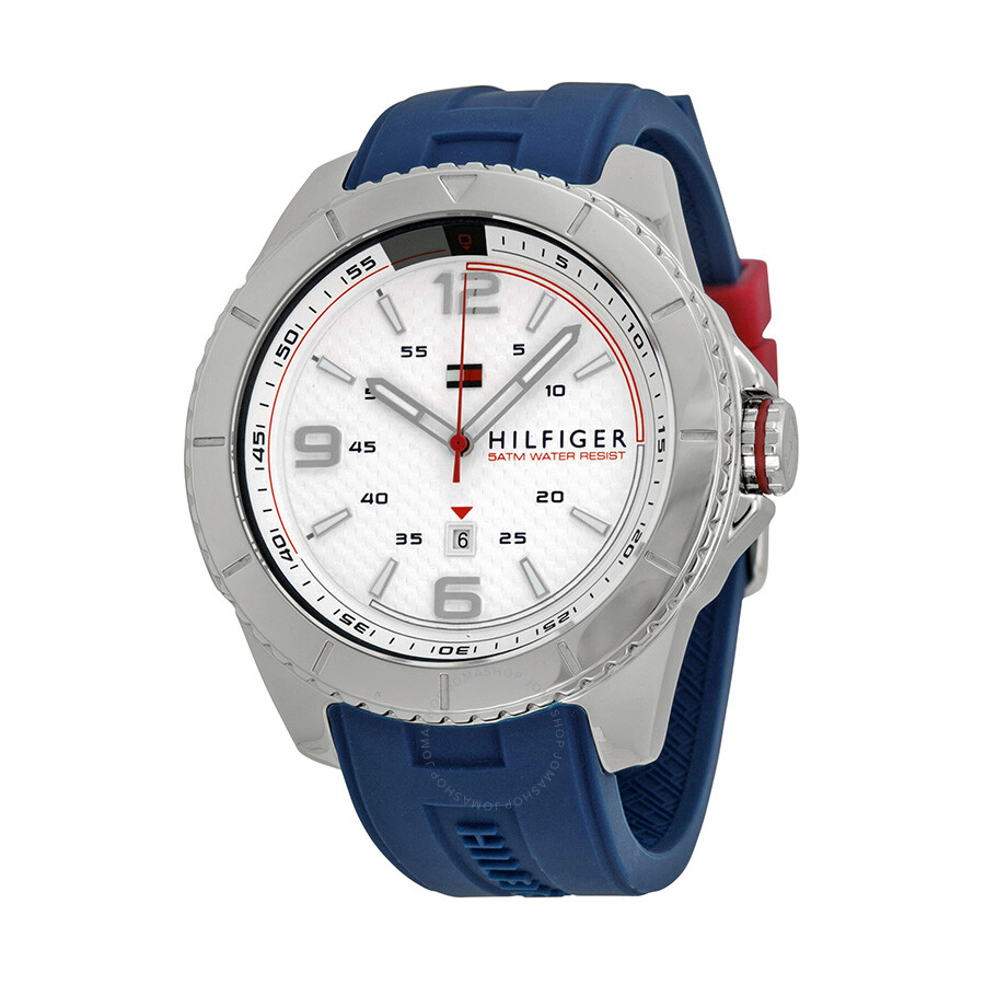 Tommy Hilfiger White Dial Blue Silicone Strap Men s Watch 1791000 ... 5826be4eb