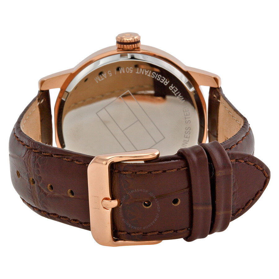 c8d358b6 ... Tommy Hilfiger White Dial Brown Leather Strap Men's Watch 1710346 ...