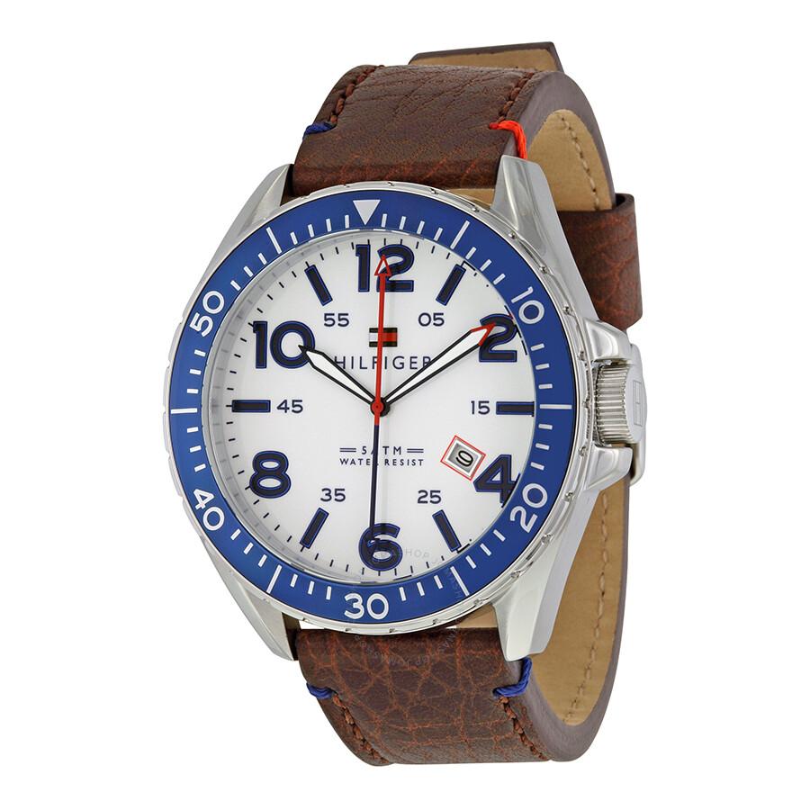 tommy hilfiger white dial gmt brown leather men 39 s watch. Black Bedroom Furniture Sets. Home Design Ideas