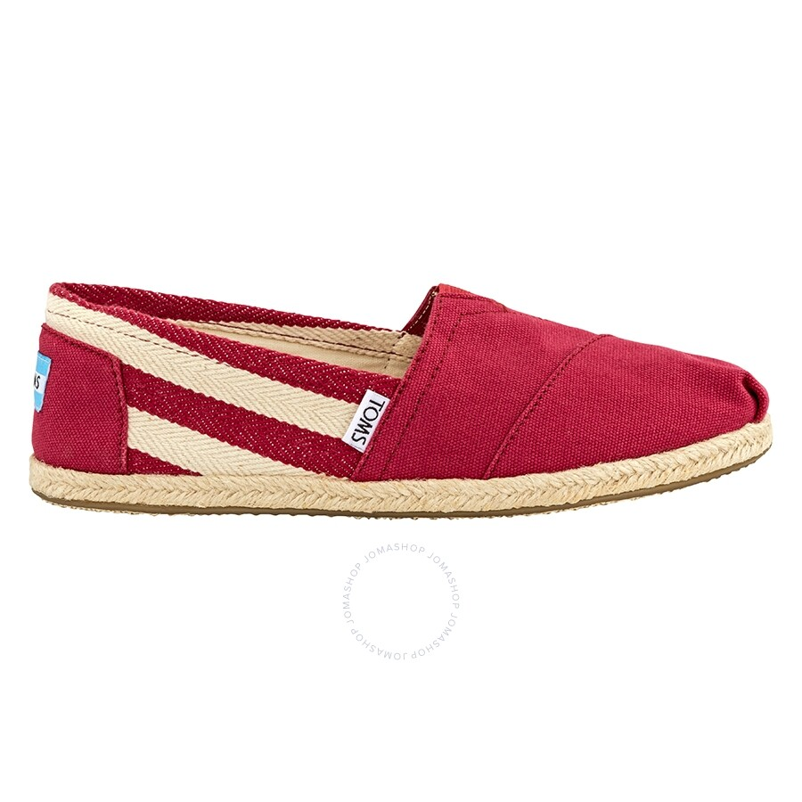 79822d863c8 Toms Woman University Alpargata Stripe Slip-On- Red  5 Item No.  10005421-RD-5