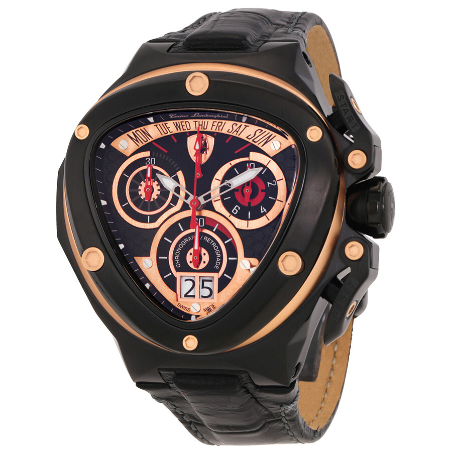 34d838aa75a Tonino Lamborghini Spyder 3000 Chronograph Black Dial Leather Men s Watch  3015 - Lamborghini - Watches - Jomashop