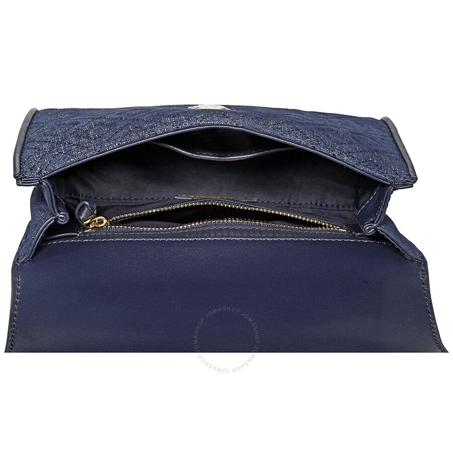 46d82e52fd8 Tory Buch Small Denim Suede Convertible Shoulder Bag- Tory Navy ...
