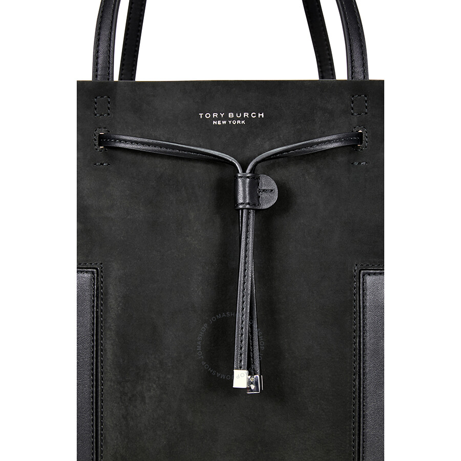 819b40643e88 Tory Burch Block-T Grommet Drawstring Tote - Black - Tory Burch ...
