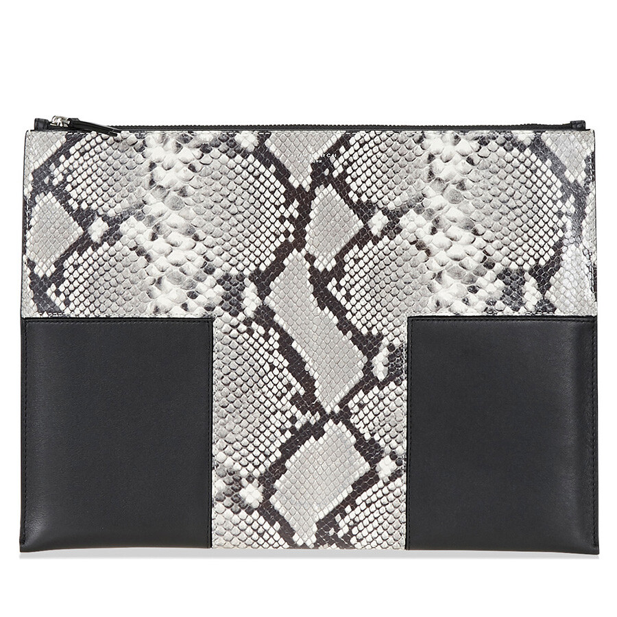 fbfac426f14 Tory Burch Block-T Large Smooth and Snake-Print Leather Pouch Item No.  46202-004