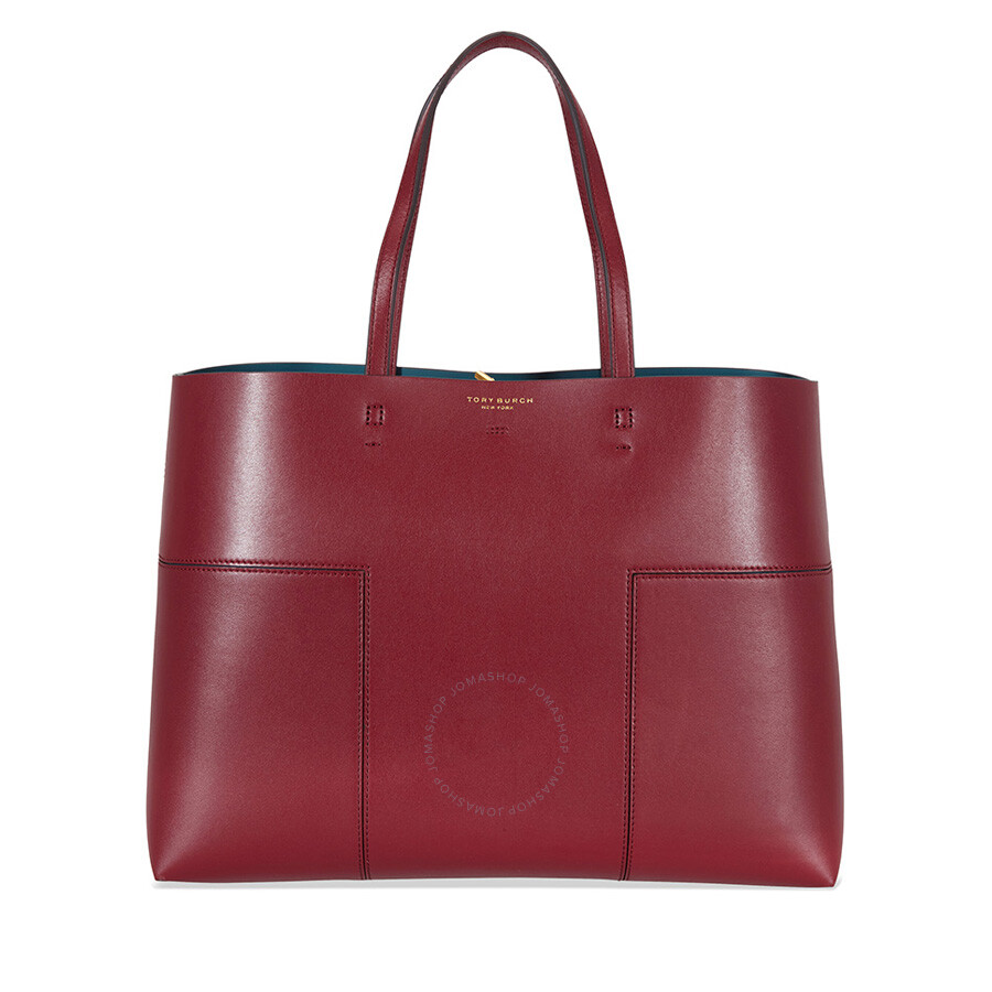 5ee411615fcc Tory Burch Block-T Leather Tote - Imperial Garnet   Deep River Item No.  11169616-644
